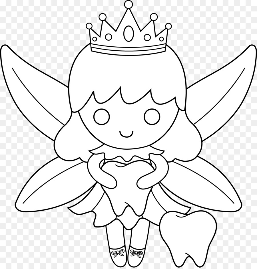 Black and white clipart of the tooth fairy