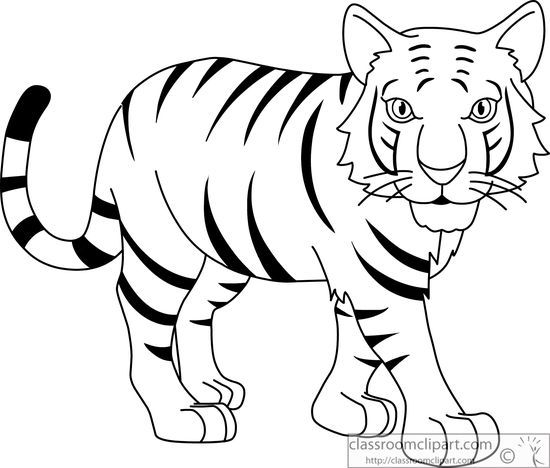 Tiger line clipart clip black and white Black and white clipart of tiger 1 » Clipart Station clip black and white