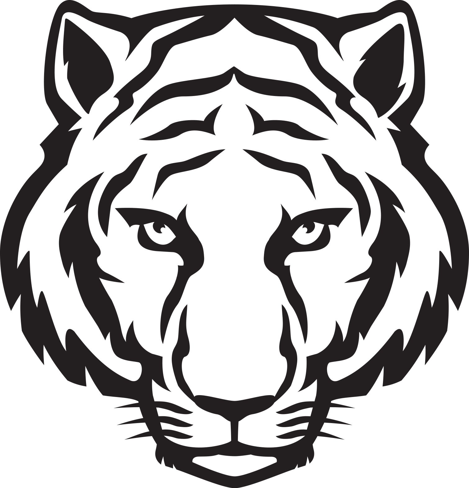 Tiger line clipart image black and white stock Tiger Head Outline | Tiger Eyes Black And White | Clipart Panda ... image black and white stock