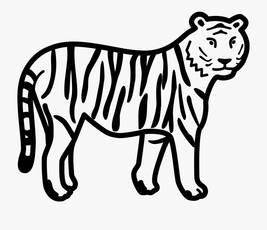 Black and white clipart of tiger banner transparent library Animals Clipart Black And White - Clip Art Of Tiger, Cliparts ... banner transparent library