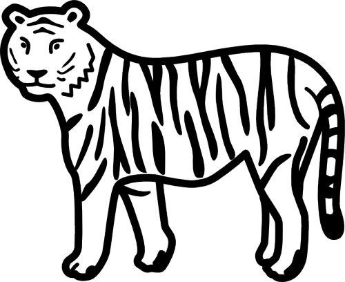 Black and white clipart of tiger