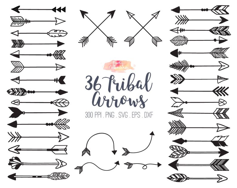 Black and white clipart of trible arrows graphic BUY 2 GET 1 FREE 36 Tribal Arrow Svg Dxf Eps Vector Etsy Awesome ... graphic