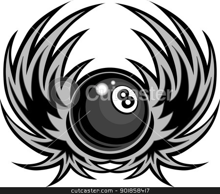 Black and white clipart of wings with 8 ball clip art transparent download Billiards Eight Ball with Wings Vector Illustration stock vector clip art transparent download