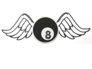 Black and white clipart of wings with 8 ball clip freeuse Lucky 8 Ball Wings Big Embroidered Back Patch 11.8\