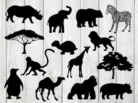Black and white clipart of zoo animal silhouettes png download Zoo animals svg bundle, zoo animals clipart, zoo svg, animals svg ... png download