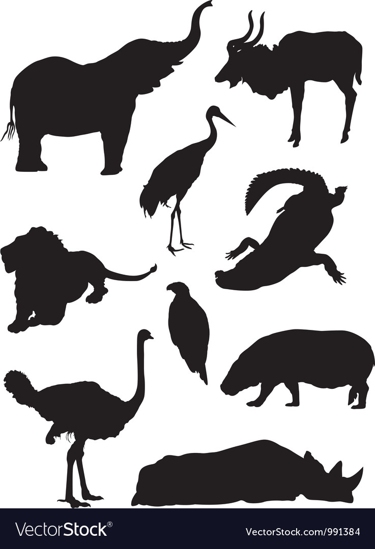 Black and white clipart of zoo animal silhouettes graphic transparent stock Zoo animals silhouette graphic transparent stock