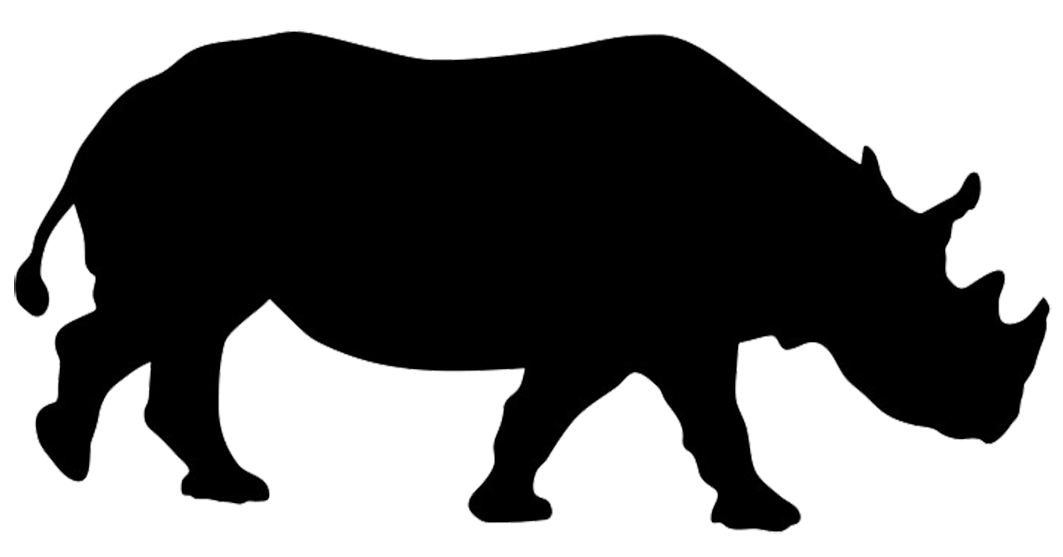 Black and white clipart of zoo animal silhouettes vector transparent library rhinoceros silhouette | Zoo animals unit | Animal silhouette ... vector transparent library