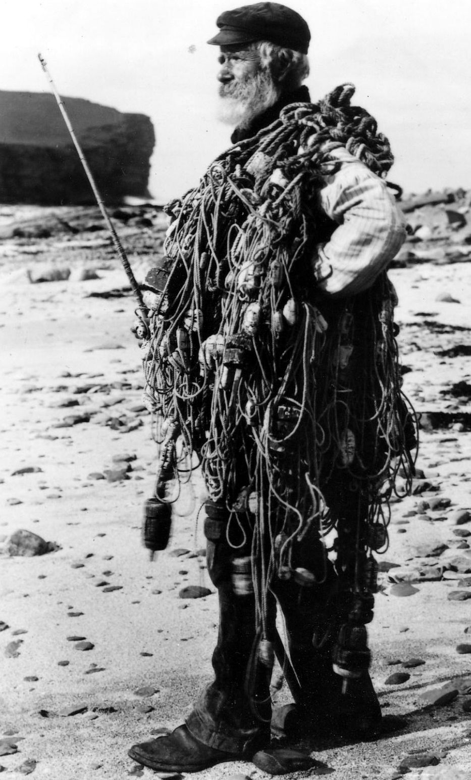 Black and white clipart old man in camouflage image freeuse library Old photograph of a fisherman in Birsay Orkney Islands , Scotland ... image freeuse library