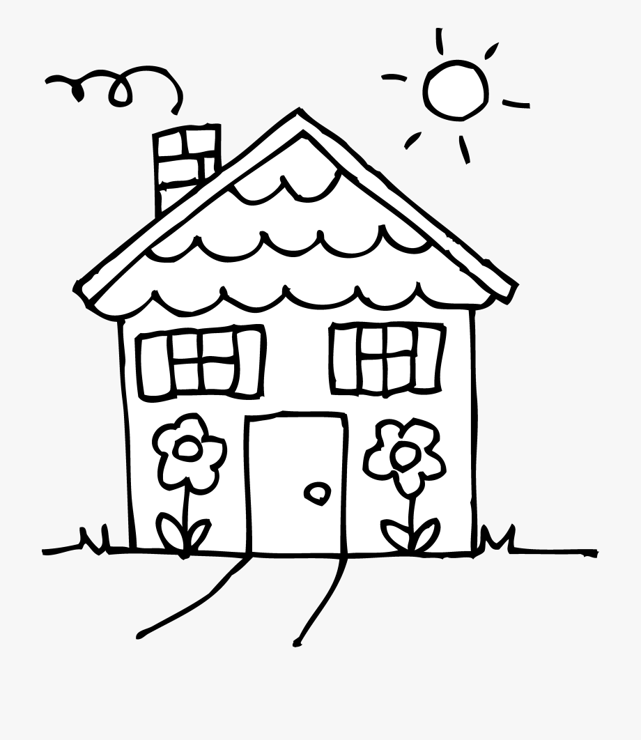 House png clipart black and whit