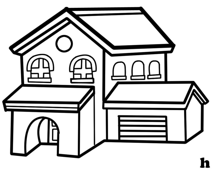House png clipart black and whit image black and white stock Best House Clipart Coloring Black White #29974 - Clipartion.com image black and white stock