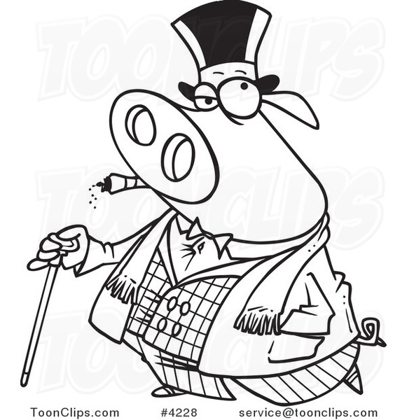Black and white clipart pig with cigar vector free library Cartoon Black and White Line Drawing of a Pig Smoking a Cigar and ... vector free library