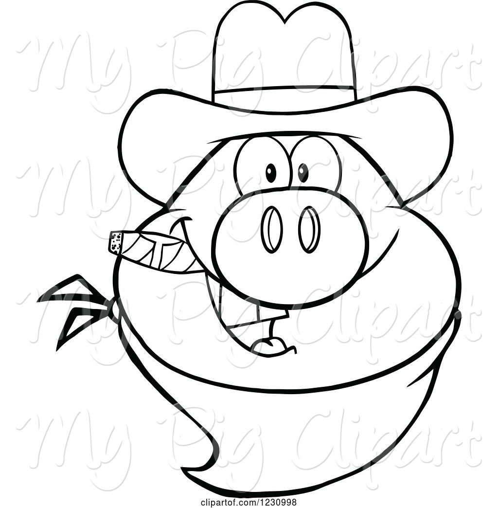 Black and white clipart pig with cigar svg freeuse library Swine Clipart of Cartoon Outlined Pig Head with a Cowboy Hat Cigar ... svg freeuse library