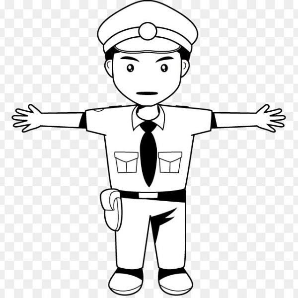 Black and white clipart police