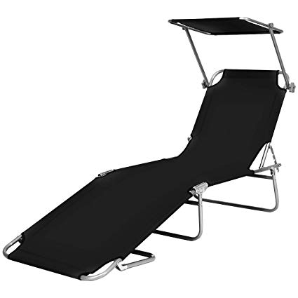 Black and white clipart reading chair outside banner black and white stock Goplus Folding Chaise Lounge Chair Adjustable Outdoor Recliner w/Detachable  Canopy for Pool Lawn Yard Patio Beach Camping (Black) banner black and white stock