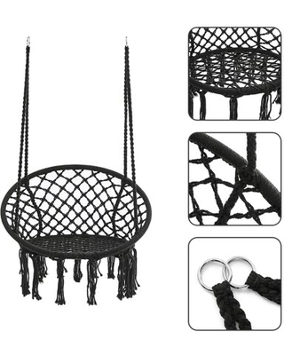 Black and white clipart reading chair outside image black and white KINGSO Hammock Chair Macrame Swing, Handmade Knitted... image black and white
