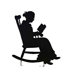 Black and white clipart reading chair outside royalty free Collections Etc Charming Rocking Chair Shadow Figure Yard Stakes, Grandma royalty free