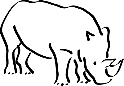 Black and white clipart rhinoceros