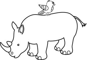 Black and white clipart rhinoceros png free library Rhino Outline with bird | Cute Rhinos | Picture tattoos, Rhino ... png free library