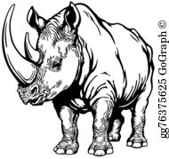 Black and white clipart rhinoceros transparent download White Rhinoceros Clip Art - Royalty Free - GoGraph transparent download
