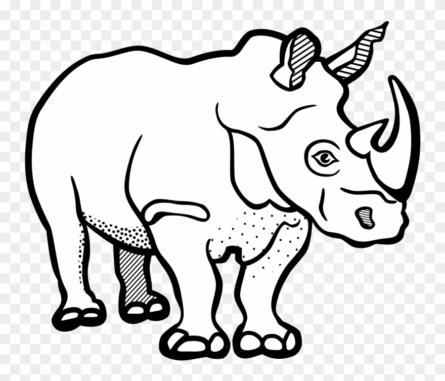 Black and white clipart rhinoceros vector free stock Rhinoceros Drawing Line Art Black And White Color - Clip Art Black ... vector free stock