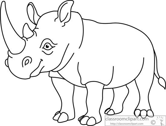 Black and white clipart rhinoceros vector black and white download African Black And White Clipart #1 | Cartoon | Animal drawings ... vector black and white download