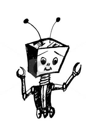 Black and white clipart robot no watermark banner library download Cartoon Robot stock photo banner library download