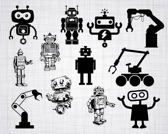 Black and white clipart robot no watermark black and white library Robot SVG Bundle, Robot SVG, Robot Clipart, Robot Cut Files For ... black and white library