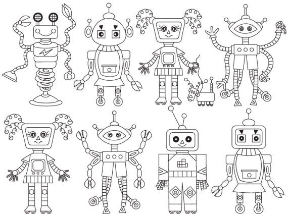 Black and white clipart robot no watermark svg free stock Pin by The Creative Mill - Clipart, Vector Illustrations, Digital ... svg free stock