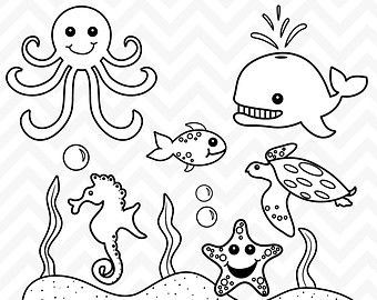 Black and white sea creatures clipart vector black and white library 50 Black And White Clipart #1 | VBS | Ocean drawing, Sea creatures ... vector black and white library