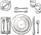 Black and white clipart set the tablr banner black and white download Image Result For Place Setting Clip Art | #409440 - Clipartimage.com banner black and white download