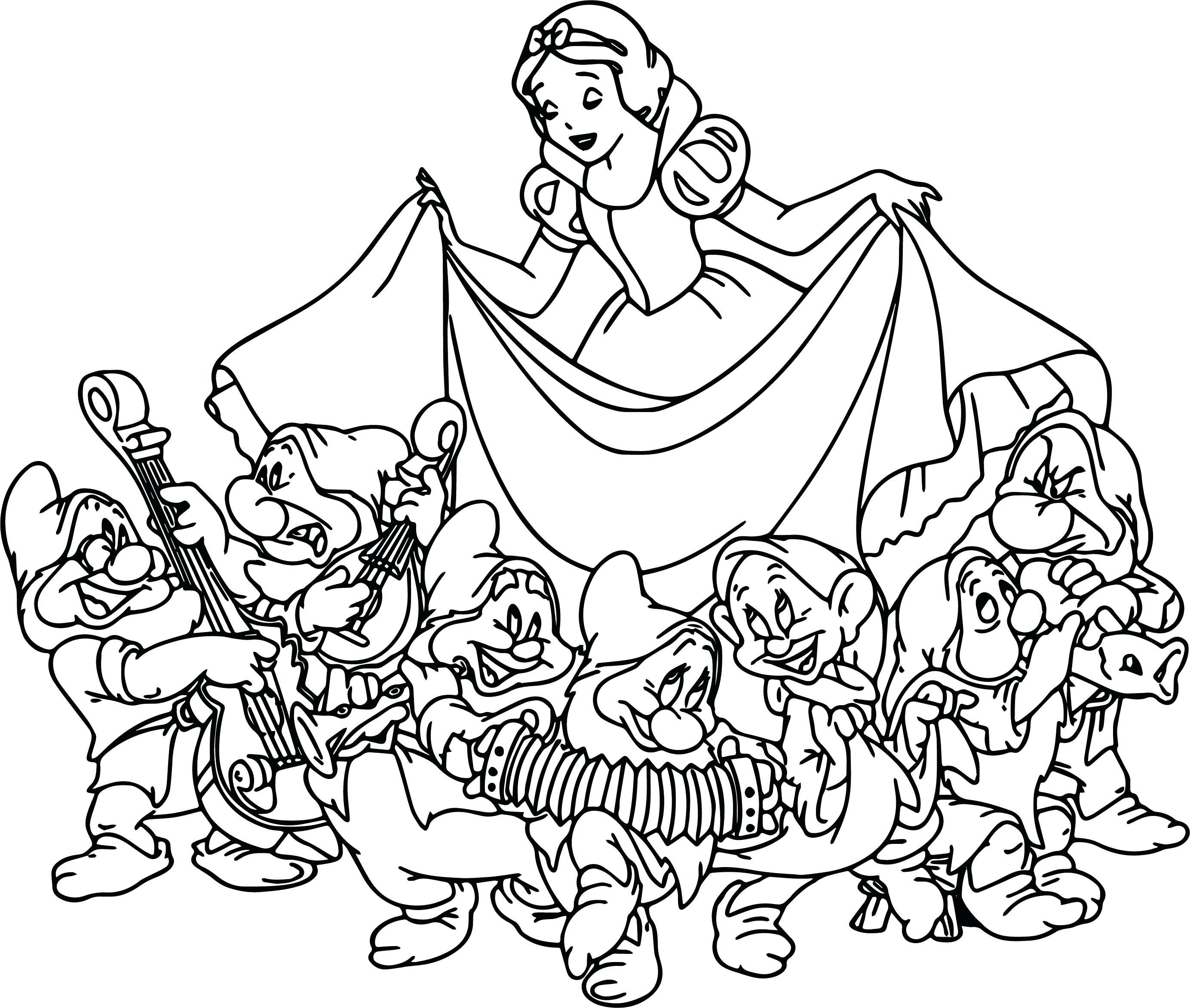 Black and white clipart seven dwarfs image transparent stock 7 Dwarfs Coloring Pages   Free download best 7 Dwarfs Coloring Pages ... image transparent stock