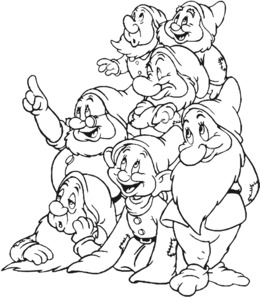 Black and white clipart seven dwarfs vector black and white Seven Dwarfs The Walt Disney Company 1940s 1950s - snow white and ... vector black and white