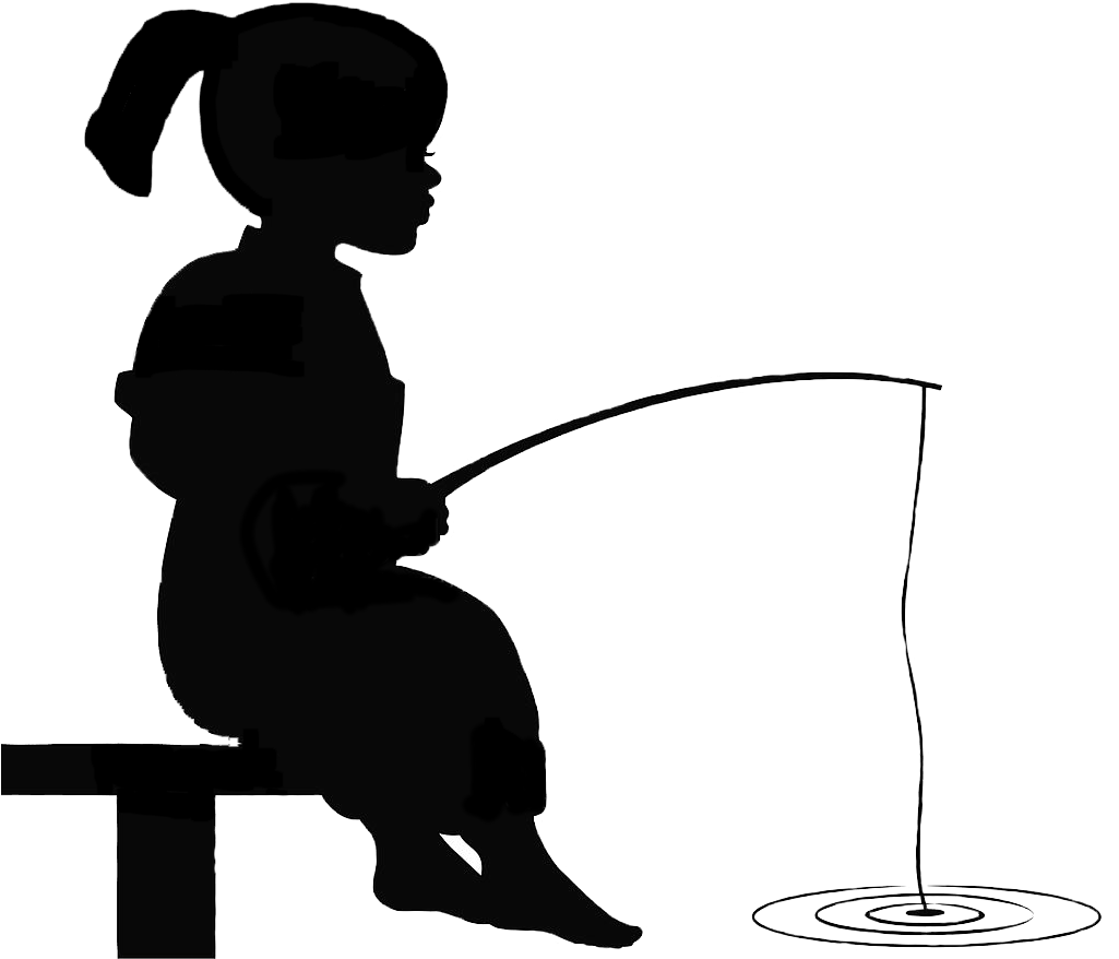 Black and white clipart silhouette of little boy fishing png freeuse download HD Girl Fishing Silhouette - Boy And Girl Fishing Silhouette , Free ... png freeuse download