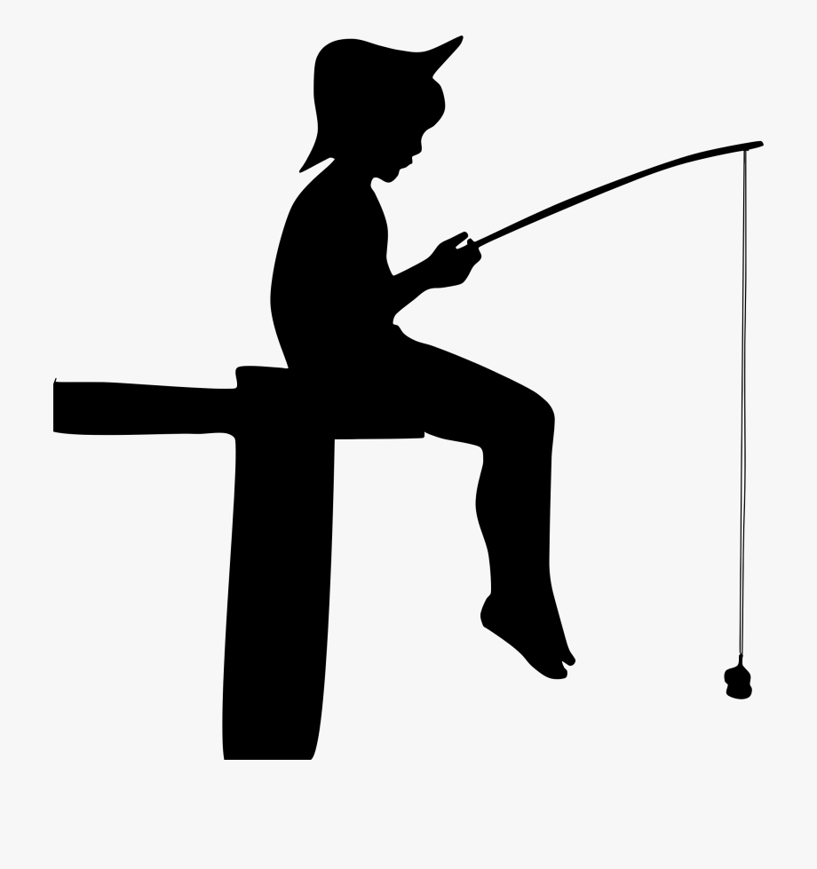 Black and white clipart silhouette of little boy fishing clip freeuse download Boy, Fishing, Human, Male, People, Person, Silhouette - Silhouette ... clip freeuse download