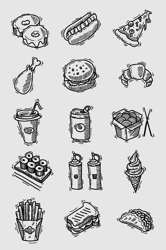 Black and white clipart sketch of learning graphic library library Hand drawn line drawing black and white fast food food material ... graphic library library