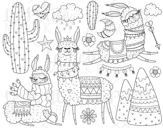 Black and white clipart sketch of learning png black and white stock Llama Clipart Illustration Set, Cute Alpaca Clip Art Images, Digital ... png black and white stock