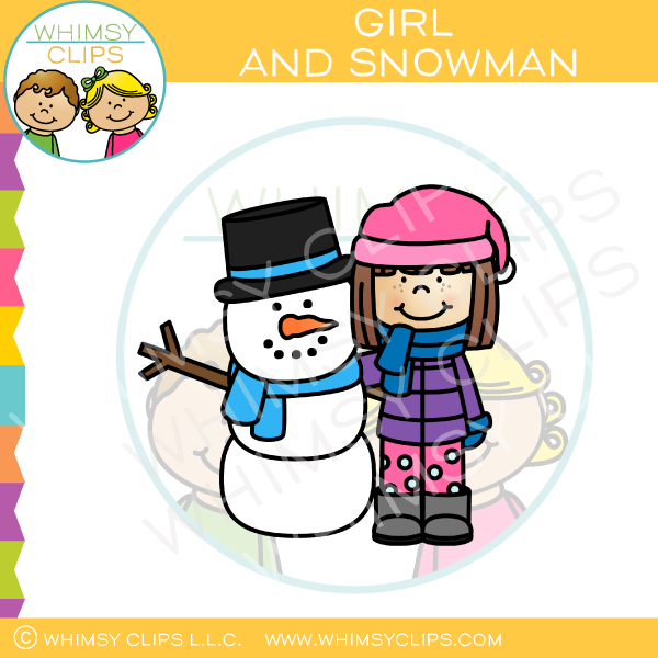 Black and white clipart snowman and little girl svg library Little Girl And Snowman Clip Art svg library