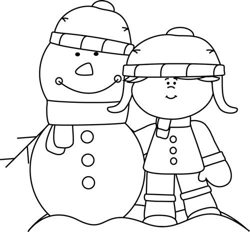 Black and white clipart snowman and little girl image transparent stock Winter Clip Art - Winter Images image transparent stock