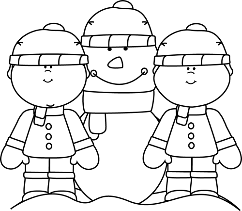 Black and white clipart snowman and little girl picture transparent download Winter Clip Art - Winter Images picture transparent download