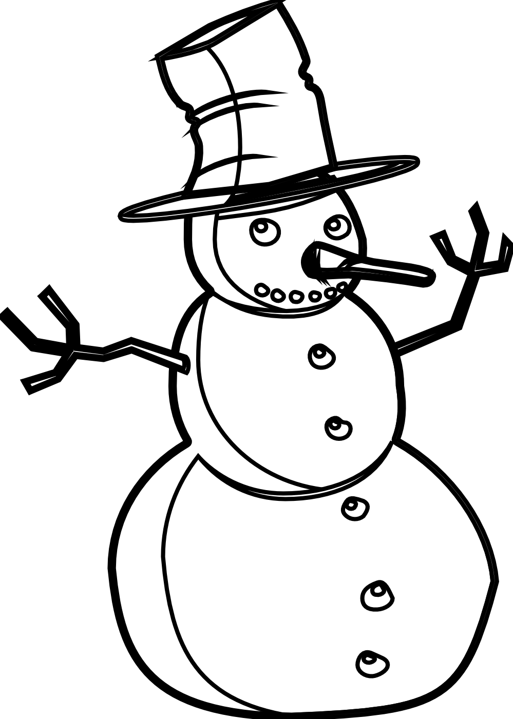 Black and white clipart snowman and little girl jpg free Free Snowman Clipart Black And White   Free download best Free ... jpg free