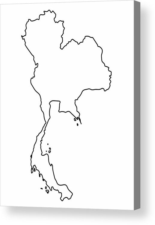 Black and white clipart sopa clip art free library Thailand Map Outline Graphic Freehand Drawing On White Background. Vector  Illustration. Acrylic Print clip art free library