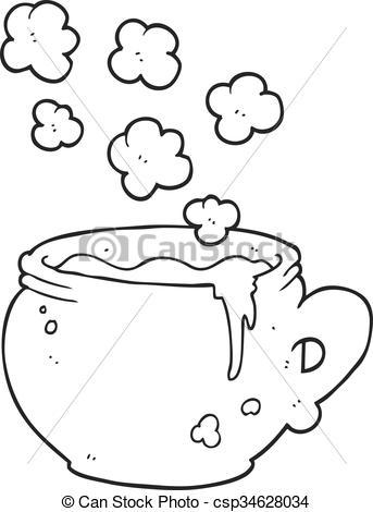 Black and white clipart sopa graphic freeuse stock sopa, jarra, negro, blanco, caricatura graphic freeuse stock