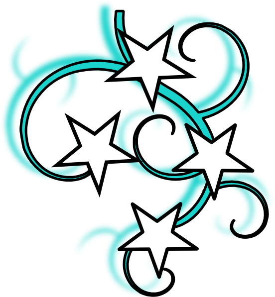 Clipart star outline clip art black and white library Teal And White Tattoo With Stars Black Outline Clip Art at Clker.com ... clip art black and white library