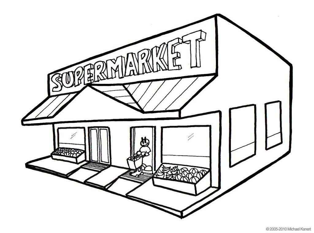 Black and white clipart store clipart freeuse Grocery Store Clipart Black And White | Letters within Grocery Store ... clipart freeuse