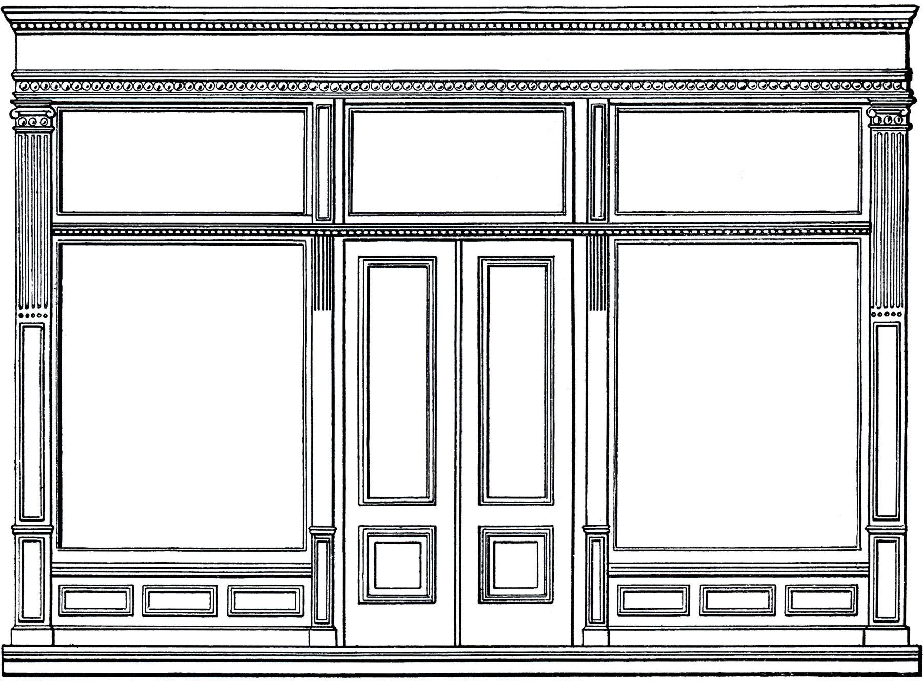 Black and white clipart store vector transparent download Free Architecture Clip Art - Store Front - The Graphics Fairy vector transparent download
