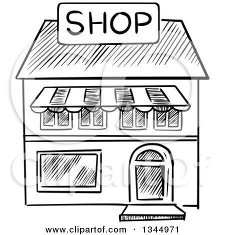Sari sari store clipart black and white