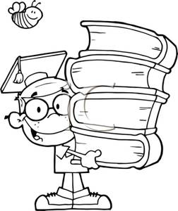 Black and white clipart students clip free library A Black and White Cartoon of a Student Holding a Stack of Books ... clip free library