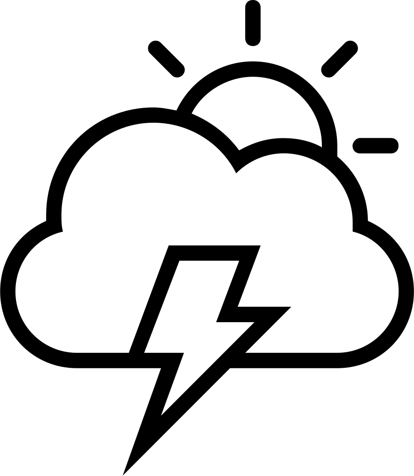 Clipart of the sun and the clouds collided and created a thuder bolt jpg library stock Storm Day Weather Interface Symbol Of Sun Cloud And A Lightning Bolt ... jpg library stock