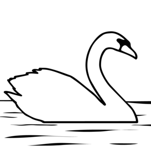Black and white clipart swan
