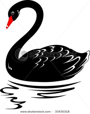 Swan lake black and white free clipart